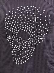 Dark Slate Grey Skull Waffle Knit Tee, NINE IRON, alternate