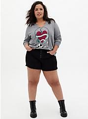 Snake Heart Grey Terry Split Neck Sweatshirt, MEDIUM HEATHER GREY, alternate