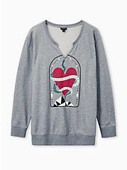 Snake Heart Grey Terry Split Neck Sweatshirt, MEDIUM HEATHER GREY, hi-res