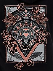 Tarot Black Terry Tunic Zip Hoodie, DEEP BLACK, alternate