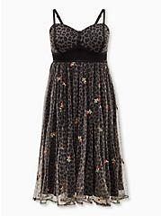 Betsey Johnson Black Leopard Bustier Mesh Skater Midi Dress, LEOPARD ROSE, hi-res