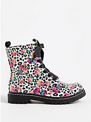 Betsey Johnson Leopard Floral Combat Boot (WW), ANIMAL, alternate