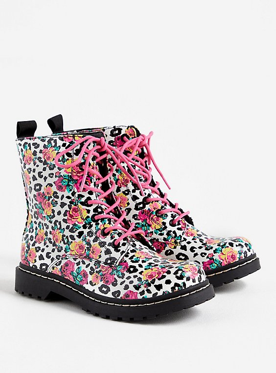 Betsey Johnson Leopard Floral Combat Boot (WW), ANIMAL, hi-res