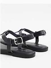Black Faux Leather T-Strap Sandal (WW), BLACK, alternate