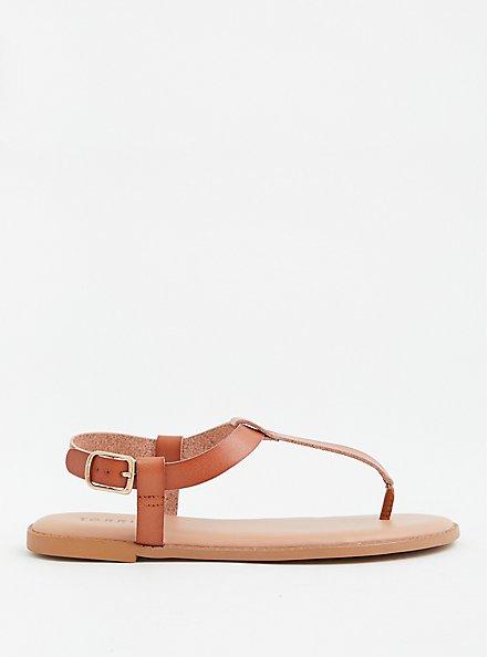 Cognac Faux Leather T-Strap Sandal (WW), COGNAC, alternate