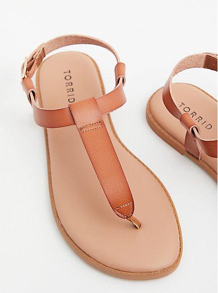 Cognac Faux Leather T-Strap Sandal (WW), COGNAC, hi-res