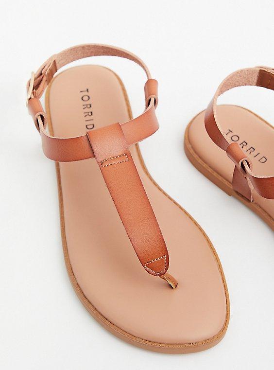 Cognac Faux Leather T-Strap Sandal (WW), , hi-res