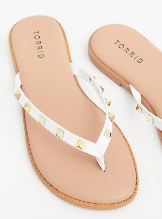 Sunnie - White Faux Leather Studded Flip Flop (WW), , hi-res