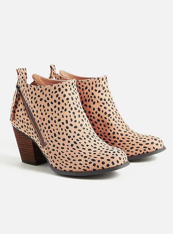 Cheetah Faux Suede Ankle Bootie (WW), ANIMAL, hi-res