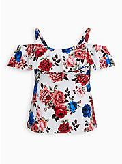 Floral Cold Shoulder Swim Tankini Top , MULTI, hi-res
