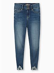 Jegging - Super Soft Medium Wash with Distressed Hem , COOL BREEZE, hi-res