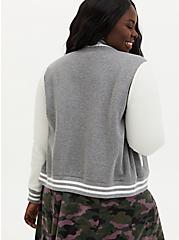 Heather Grey & White Fleece Crop Varsity Bomber Jacket, HEATHER GREY, alternate