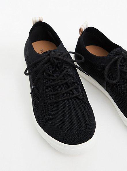 Black Stretch Knit Lace-Up Sneaker (WW), BLACK, alternate