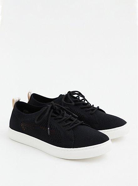 Black Stretch Knit Lace-Up Sneaker (WW), BLACK, hi-res