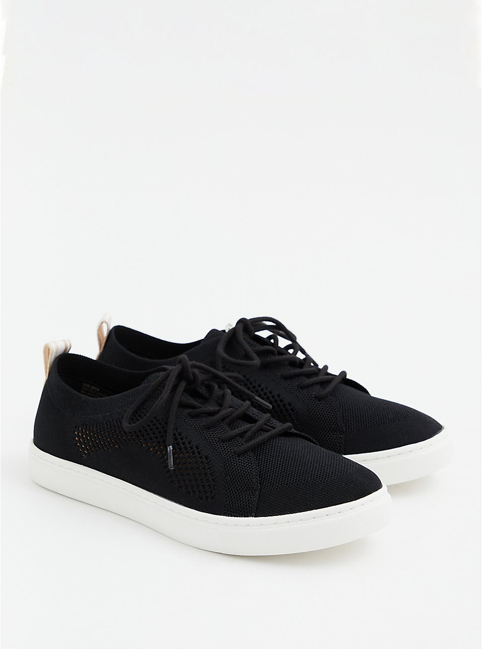 Black Stretch Knit Lace-Up Sneaker (WW), BLACK, hi-res