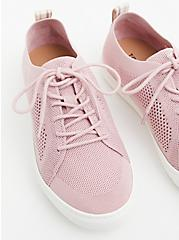 Light Pink Stretch Knit Lace-Up Sneaker (WW), BLUSH, alternate