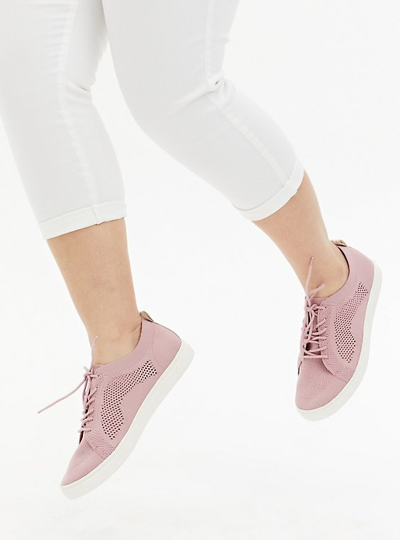 Light Pink Stretch Knit Lace-Up Sneaker (WW), BLUSH, hi-res