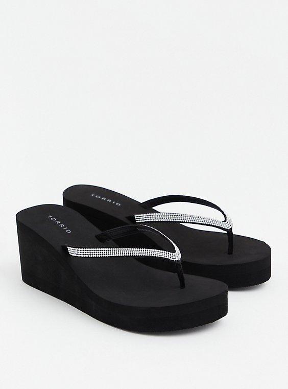 Black Rhinestone Eva Platform Sandal, BLACK, hi-res