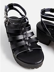 Black Faux Leather Gladiator Heel (WW), BLACK, alternate