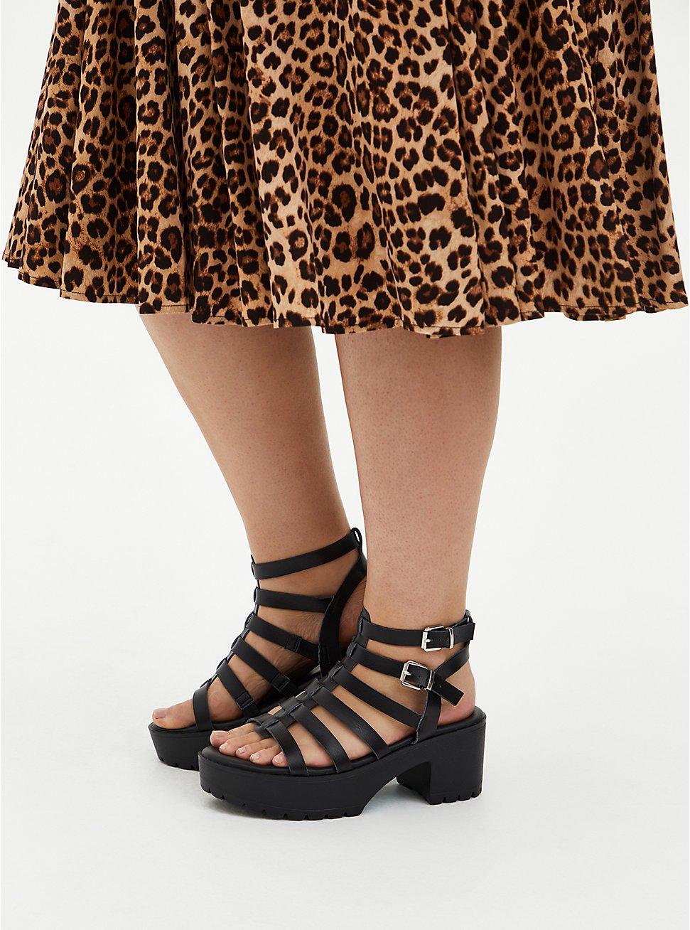 Black Faux Leather Gladiator Heel (WW), BLACK, hi-res