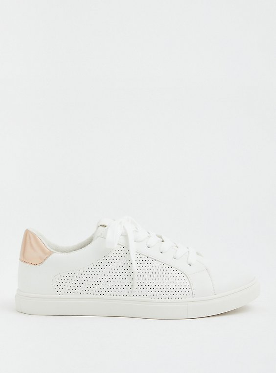 White Faux Leather Perforated Lace-Up Sneaker (WW), , hi-res