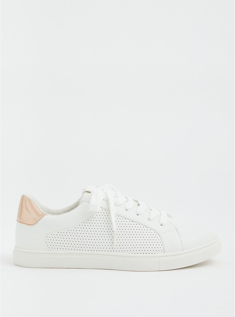 White Faux Leather Perforated Lace-Up Sneaker (WW), WHITE, hi-res