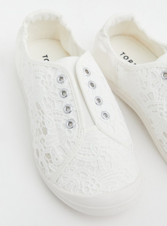 Plus Size Riley - White Crochet Ruched Sneaker (WW), WHITE, hi-res