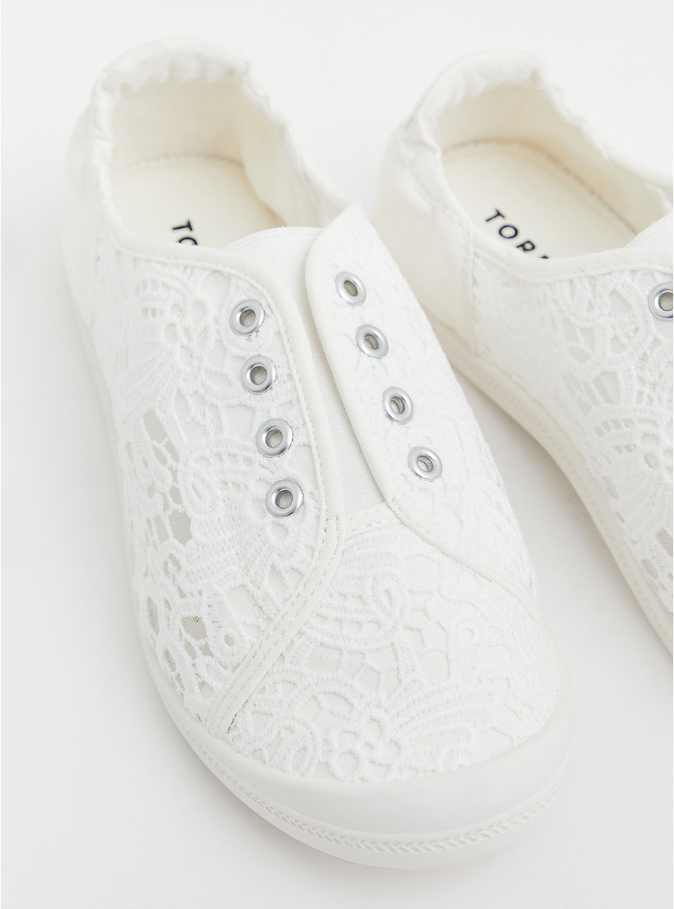 Riley - White Crochet Ruched Sneaker (WW), WHITE, hi-res