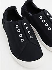 Riley - Black Laceless Ruched Sneaker (WW), BLACK, alternate