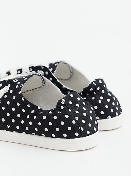 Riley - Black Polka Dot Ruched Sneaker, BLACK, alternate