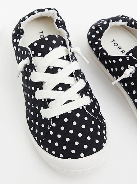 Riley - Black Polka Dot Ruched Sneaker, BLACK, hi-res