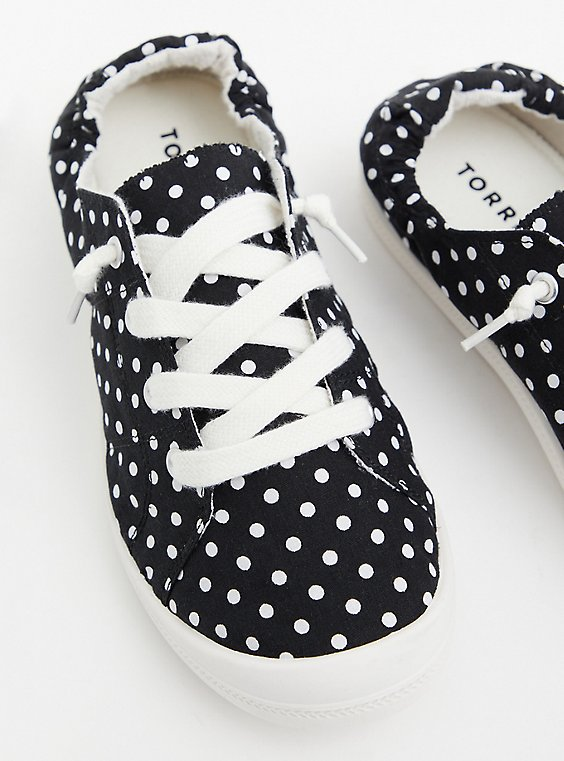 Riley - Black Polka Dot Ruched Sneaker, BLACK, hi-res