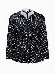 Black Polka Dot Nylon Rain Jacket, DOT -BLACK, hi-res
