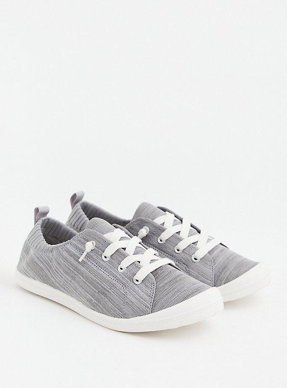 Riley - Grey Stretch Knit Ruched Sneaker, GREY, hi-res