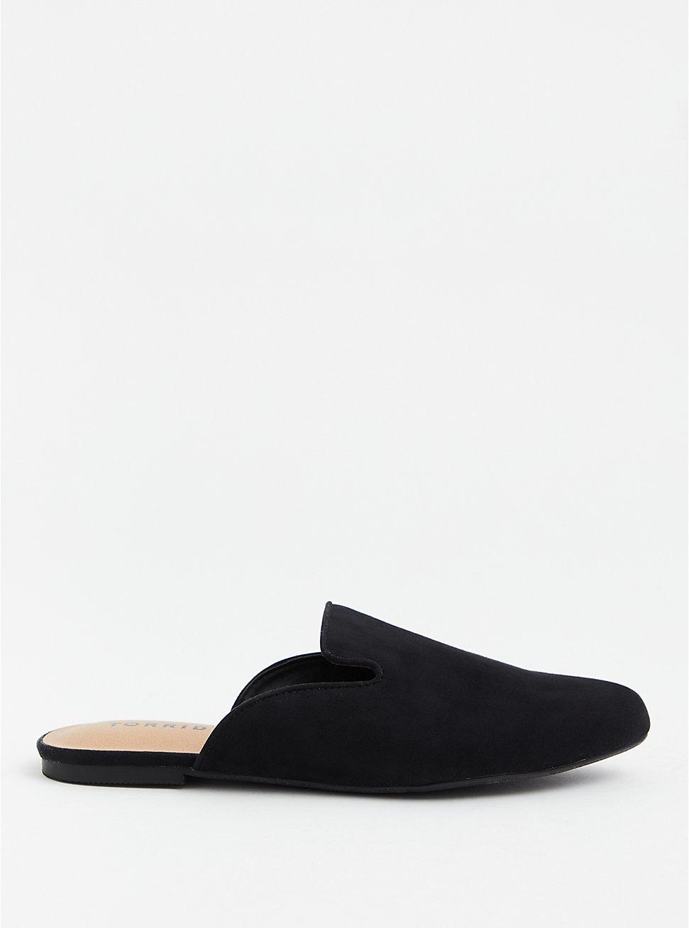 Black Faux Suede Slip-On Loafer (WW), BLACK, hi-res