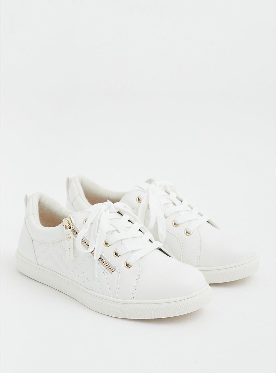 White Faux Leather Zip Sneaker (WW), WHITE, hi-res