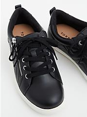 Black Faux Leather Zip Sneaker (WW), BLACK, alternate
