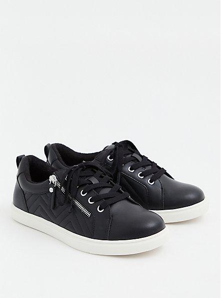 Black Faux Leather Zip Sneaker (WW), BLACK, alternate
