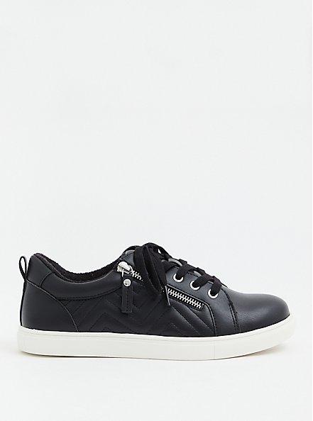 Black Faux Leather Zip Sneaker (WW), BLACK, hi-res