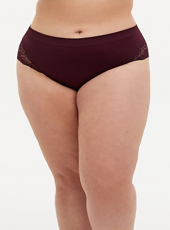 Burgundy Purple Lace Seamless Flirt Hipster Panty, , hi-res