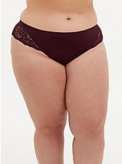 Burgundy Purple Lace Seamless Flirt Thong Panty, , hi-res