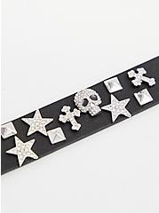 Black Skull & Stars Magnetic Bracelet, BLACK, alternate