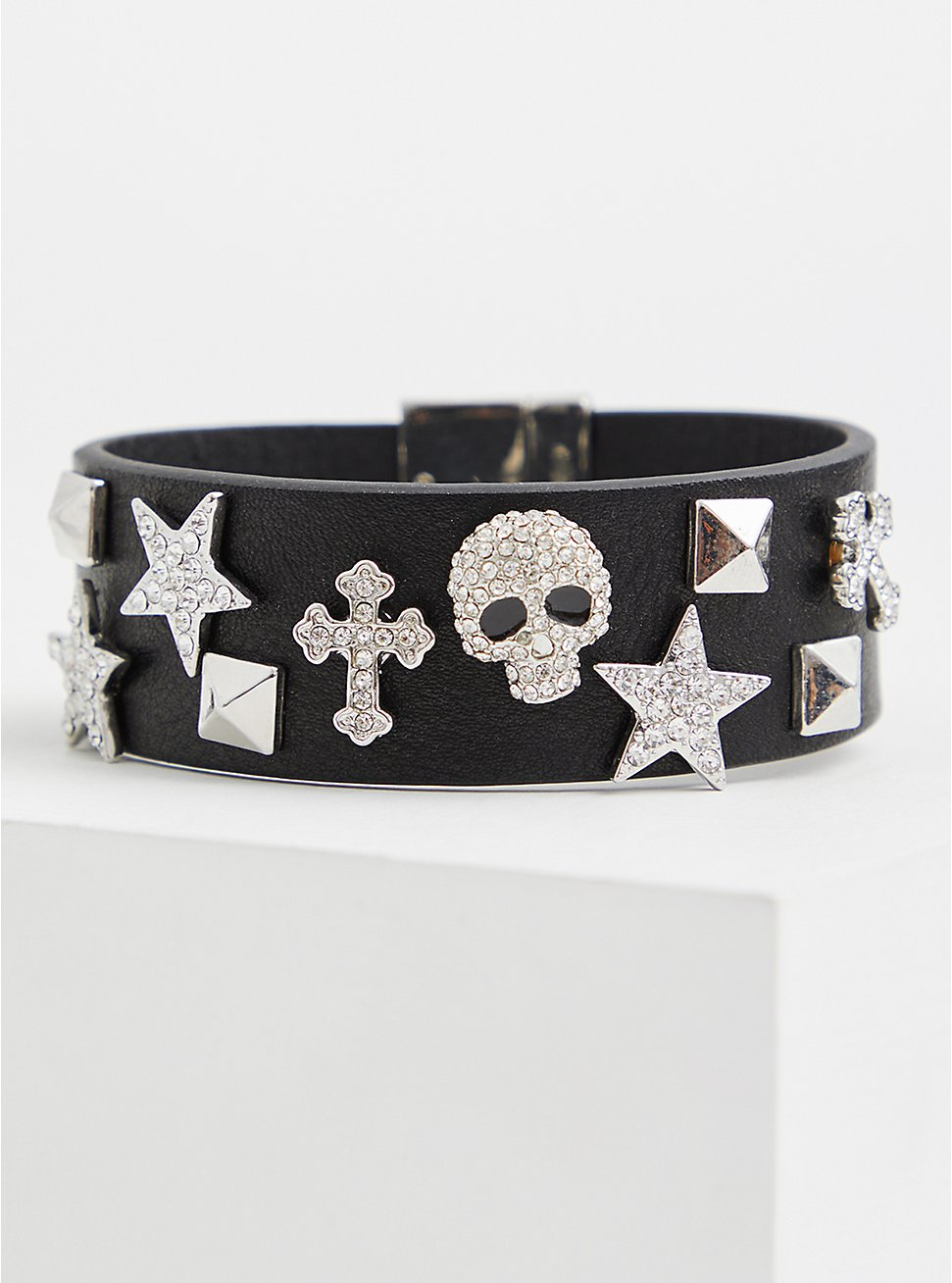 Black Skull & Stars Magnetic Bracelet, BLACK, hi-res
