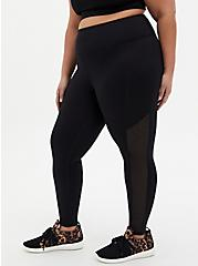 Black Mesh Side Wicking Active Legging With Pockets, BLACK, hi-res