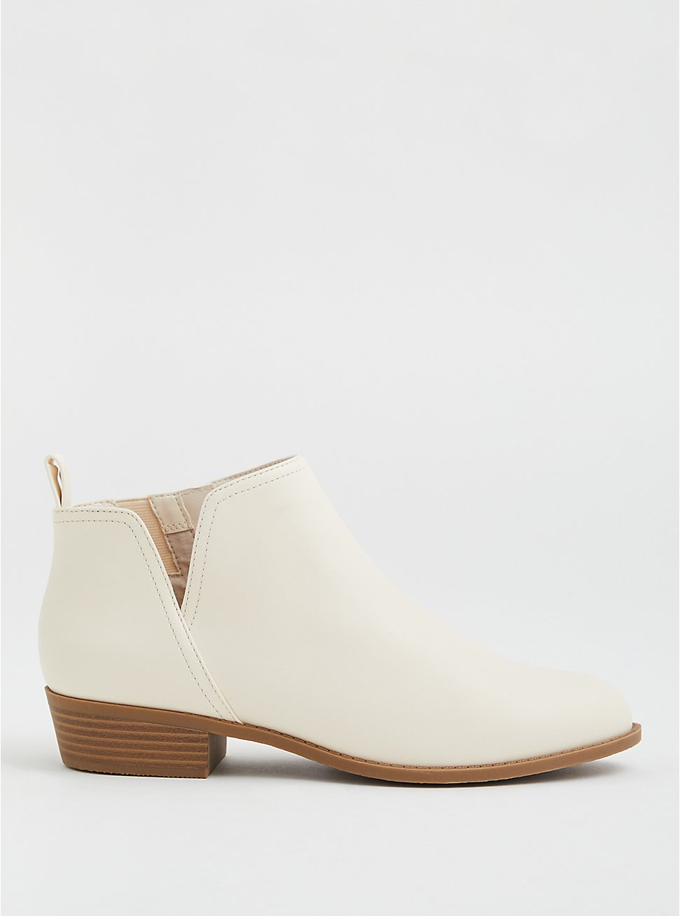 Beige Faux Leather V-Cut Ankle Bootie, BONE, hi-res