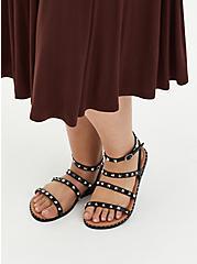 Black Faux Leather Studded Strap Sandal (WW), BLACK, alternate