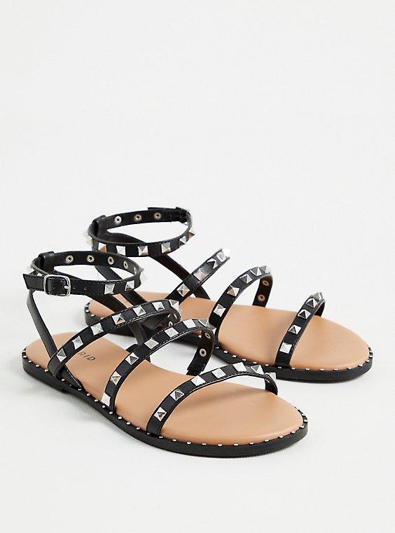 Black Faux Leather Studded Strap Sandal (WW), BLACK, hi-res