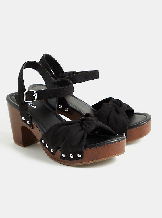 Black Faux Suede & Faux Wood Knot Platform Heel (WW), BLACK, hi-res