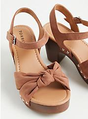 Brown Faux Suede & Faux Wood Knot Platform Heel (WW), , alternate