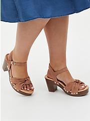 Brown Faux Suede & Faux Wood Knot Platform Heel (WW), , hi-res